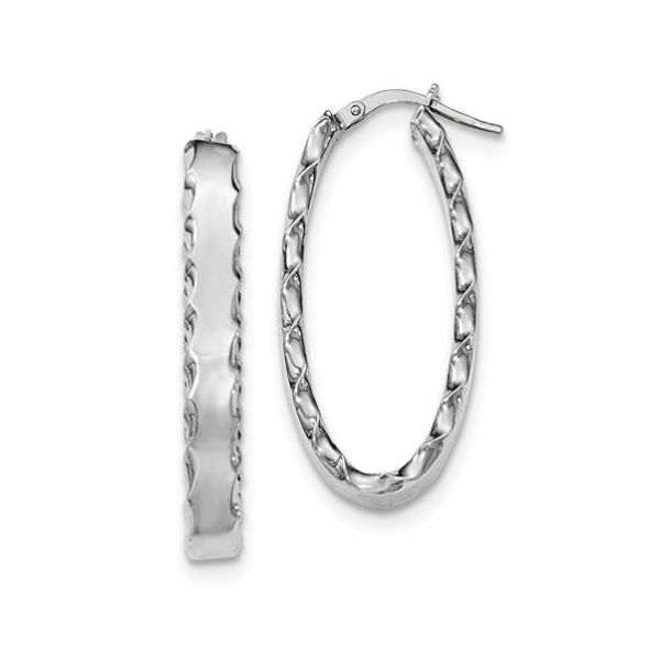 Sterling Silver Rhodium-Plated Hoop Earrings- 5 mm x 37 mm x 18 mm Bluestone Jewelry Tahoe City, CA
