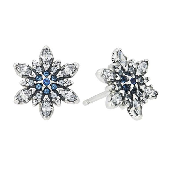 Sterling Silver Snowflake Stud Earrings with White and Blue CZs Bluestone Jewelry Tahoe City, CA