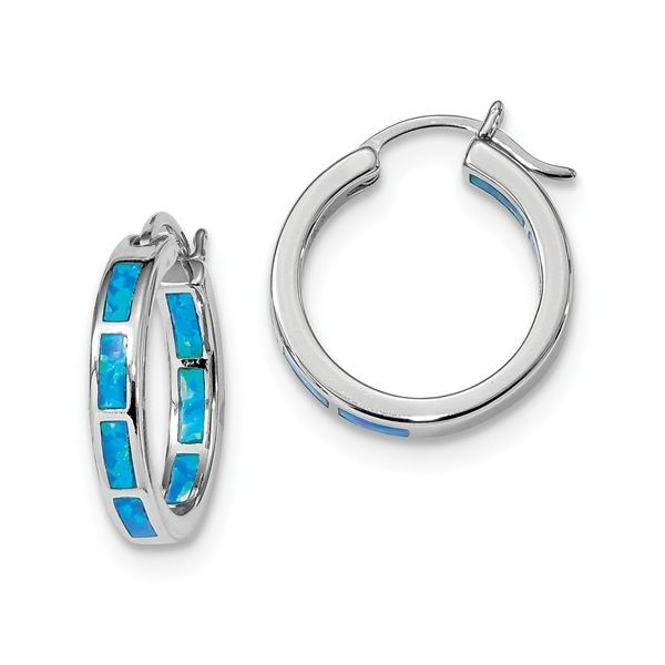 Sterling Silver Rhodium Plated Lab Grown Blue Opal Hoop Earrings Image 2 Bluestone Jewelry Tahoe City, CA