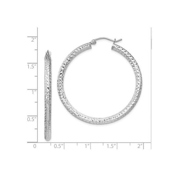 Sterling Silver Diamond Cut 3mm Hoop Earrings- 40mm x 40mm Image 2 Bluestone Jewelry Tahoe City, CA