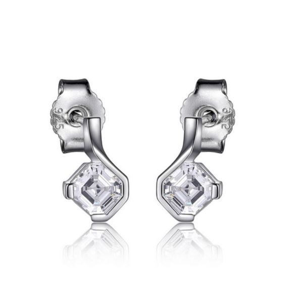 Sterling Silver Earrings with Cubic Zirconias and Rubies Bluestone Jewelry Tahoe City, CA