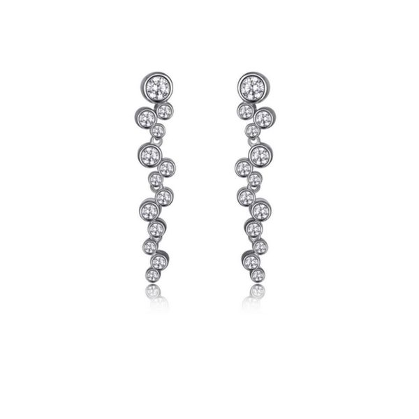 Sterling Silver Rhodium Earrings with Cubic Zirconias Rubies Bluestone Jewelry Tahoe City, CA