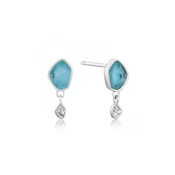 Sterling Silver with Rhodium Plating Post Earrings with Turquoise. Bluestone Jewelry Tahoe City, CA