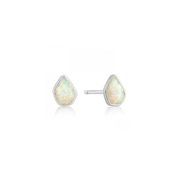 Sterling Silver Stud Earrings with Lab Grown Opals. Bluestone Jewelry Tahoe City, CA