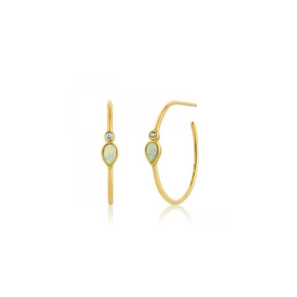 Sterling Silver with 14 KYG Plated Hoop Earrings with Lab Opals Bluestone Jewelry Tahoe City, CA
