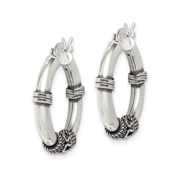 Medium Sterling Silver Antiqued Hoop Earrings 25mm x 25mm Image 2 Bluestone Jewelry Tahoe City, CA