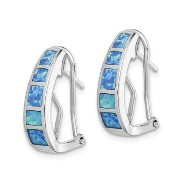 Sterling Silver Blue Opal Squares Hoop Earrings Image 2 Bluestone Jewelry Tahoe City, CA