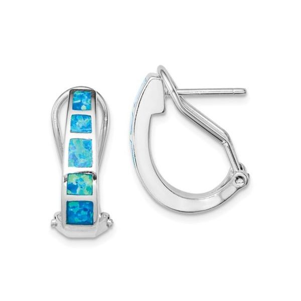 Sterling Silver Blue Opal Squares Hoop Earrings Bluestone Jewelry Tahoe City, CA
