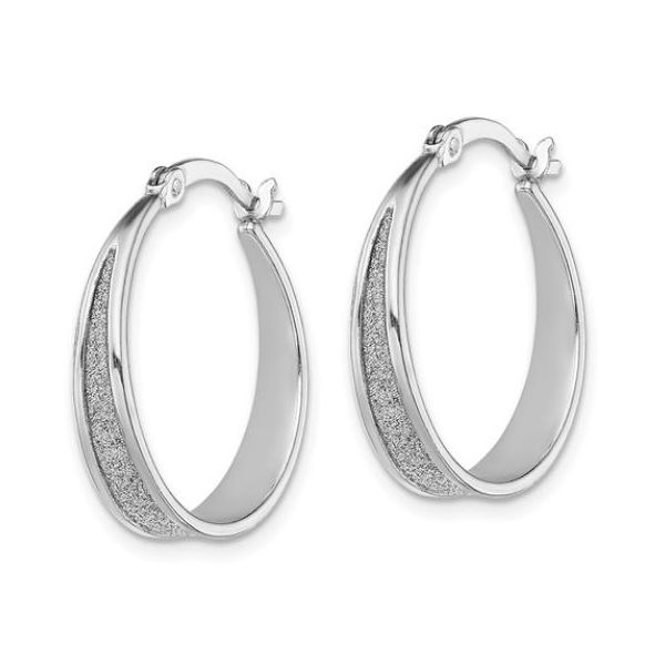 Sterling Silver Glitter Hoop Earrings Image 2 Bluestone Jewelry Tahoe City, CA