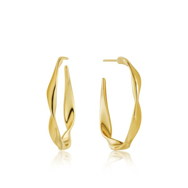 Sterling Silver with 14 Karat Yellow Gold Plating Twist Hoop Earrings Bluestone Jewelry Tahoe City, CA