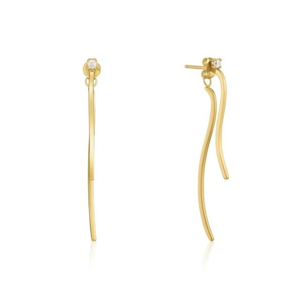 Sterling Silver with 14 Karat Yellow Gold Plating Curve Drop Bar Earrings with CZs Bluestone Jewelry Tahoe City, CA