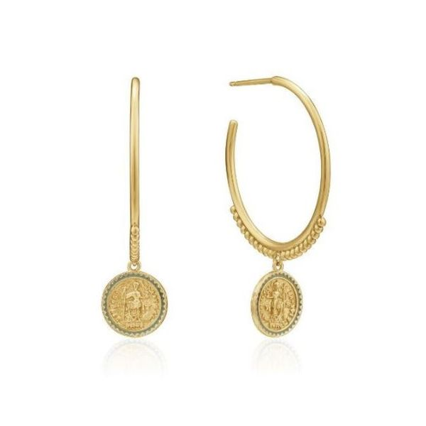 Sterling Silver with 14 Karat Yellow Gold Plating Emperor Coin Hoop Earrings Bluestone Jewelry Tahoe City, CA