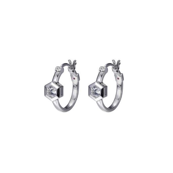 Sterling Silver Rhodium Hoop Earrings with Cubic Zirconia and Rubys Bluestone Jewelry Tahoe City, CA