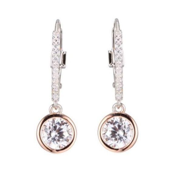Silver and 14kt Rose Gold Earrings with Cubic Zirconias and Rubies Bluestone Jewelry Tahoe City, CA