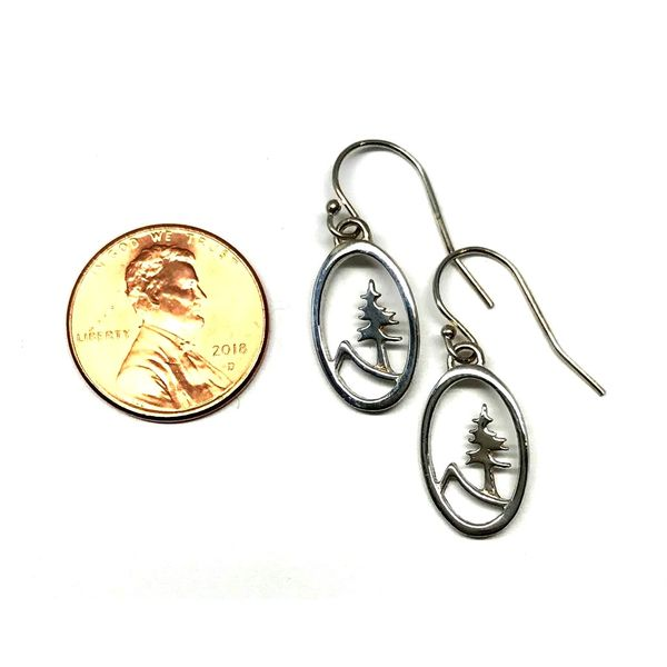 Sterling Silver Medium Oval Tree and Mountain Earrings Image 3 Bluestone Jewelry Tahoe City, CA