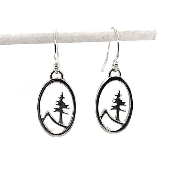 Sterling Silver Medium Oval Tree and Mountain Earrings Bluestone Jewelry Tahoe City, CA