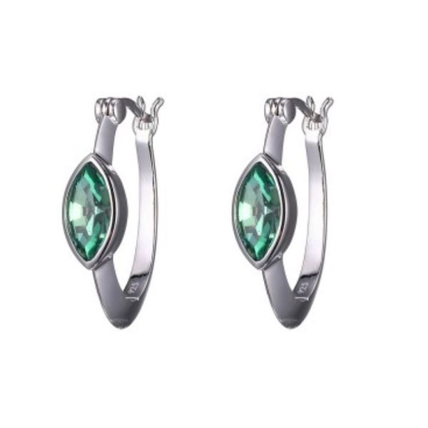 Silver Swarovski Erinite Earrings with and Rubies Bluestone Jewelry Tahoe City, CA