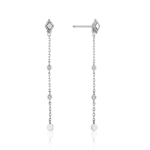 Sterling Silver Rhodium Plated Drop Stud Earrings with Cubic Zirconias Bluestone Jewelry Tahoe City, CA