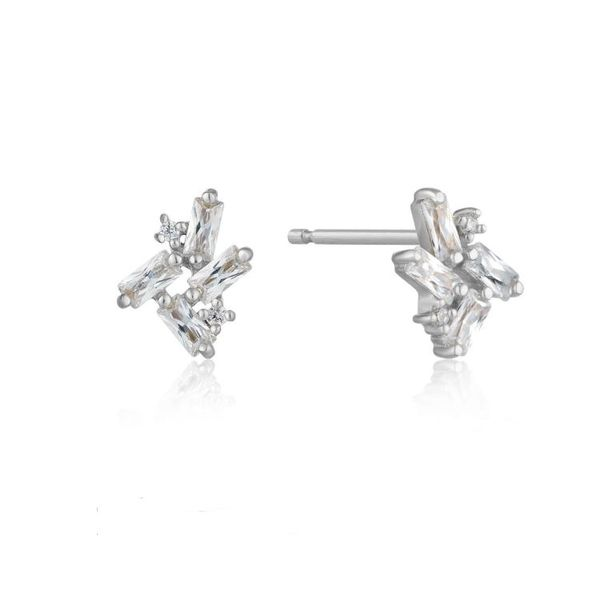 Sterling Silver Cluster Stud Earrings with Cubic Zirconias Bluestone Jewelry Tahoe City, CA
