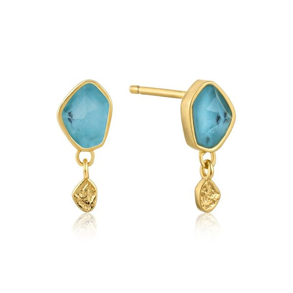 14 Karat Yellow Gold Plated Post Drop Stud Earrings with Turquoise Bluestone Jewelry Tahoe City, CA