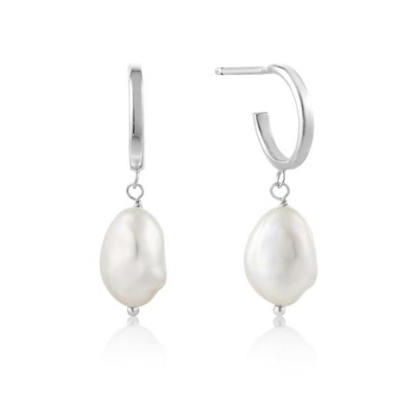 Sterling Silver Rhodium Plated Mini Hoop Earrings with Two Freshwater Pearls Bluestone Jewelry Tahoe City, CA