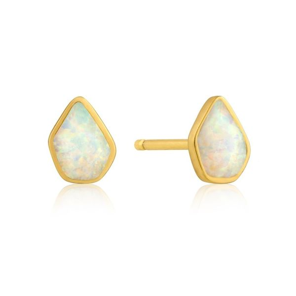 Gold Plated Sterling Silver Stud Earrings with Lab Grown Opals Bluestone Jewelry Tahoe City, CA