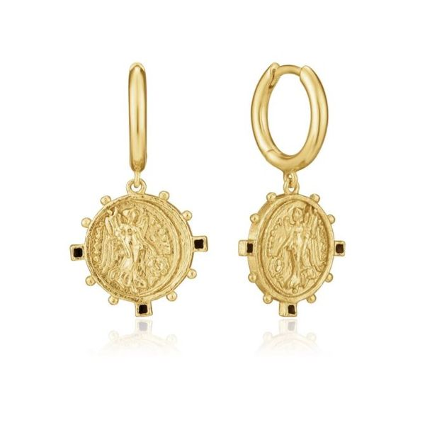 Gold Plated Ancient Coin Styled Wire Drop Earrings Bluestone Jewelry Tahoe City, CA