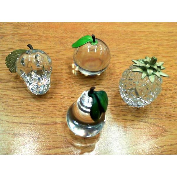 Set of Four Hand-made WaterFord Glass Fruit Bluestone Jewelry Tahoe City, CA