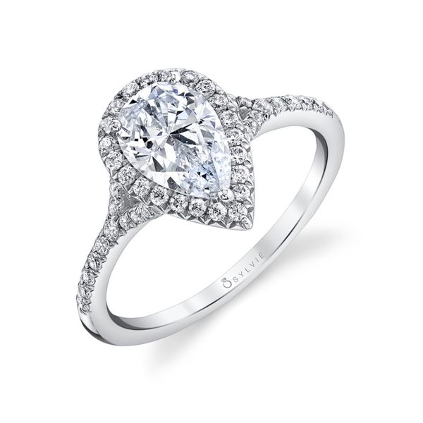 Pear Halo Engagement Ring Blue Water Jewelers Saint Augustine, FL