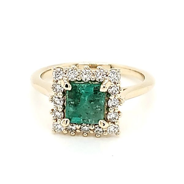 Emerald Halo Ring Blue Water Jewelers Saint Augustine, FL