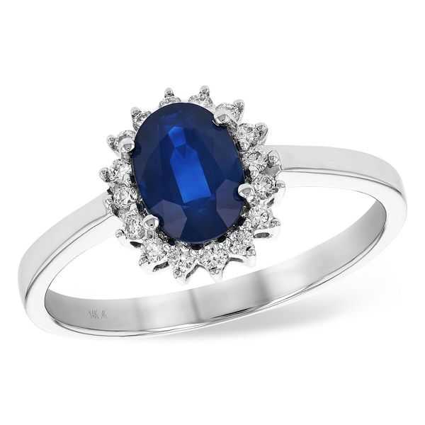 Halo Sapphire Ring Blue Water Jewelers Saint Augustine, FL
