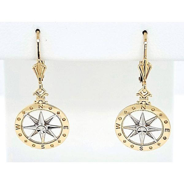 Two-Tone Compass Earrings Blue Water Jewelers Saint Augustine, FL