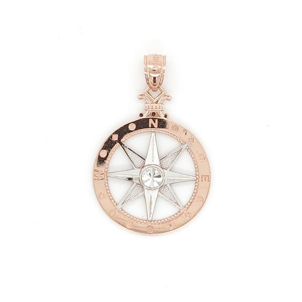 Rose And White Gold Compass Pendant Blue Water Jewelers Saint Augustine, FL