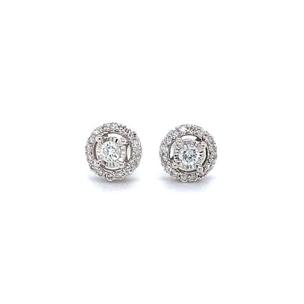 1/4 ctw Round Diamond Halo Reflections Stud Earrings in 14kt White Gold Carroll / Ochs Jewelers Monroe, MI