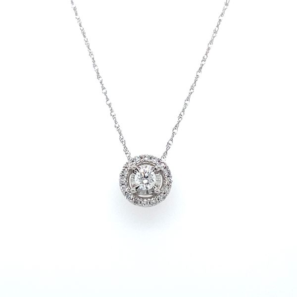 1/4 ctw Round Diamond Halo Reflections Pendant in 14kt White Gold Carroll / Ochs Jewelers Monroe, MI