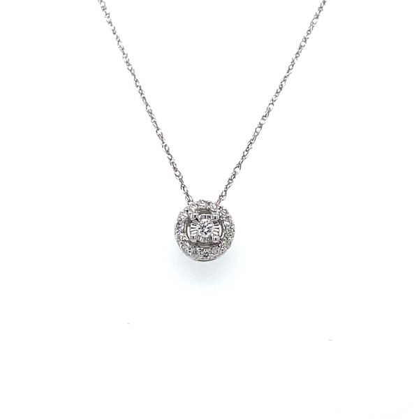 1/10 ctw Round Diamond Halo Reflections Pendant in 14kt White Gold Carroll / Ochs Jewelers Monroe, MI