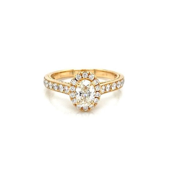 Oval Diamond Halo Mil Grain Detailed Engagement Ring Image 2 Carter's Jewelry, Inc. Petal, MS