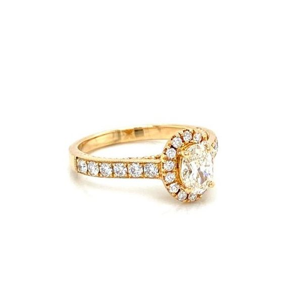 Oval Diamond Halo Mil Grain Detailed Engagement Ring Image 3 Carter's Jewelry, Inc. Petal, MS