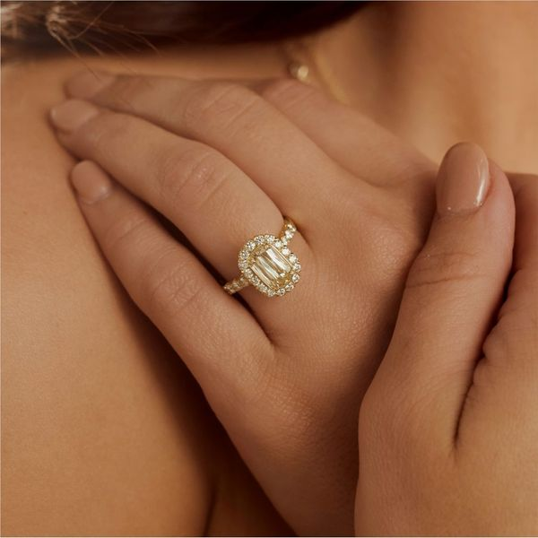 Christopher Designs L'Amour Criss-Cut Halo Diamond Engagement Ring Image 2 Carter's Jewelry, Inc. Petal, MS