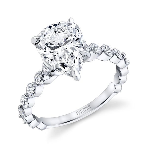 Aster Pear Shaped Shared Prong Diamond Engagement Ring Image 2 Carter's Jewelry, Inc. Petal, MS
