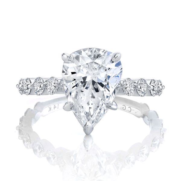 Aster Pear Shaped Shared Prong Diamond Engagement Ring Image 3 Carter's Jewelry, Inc. Petal, MS