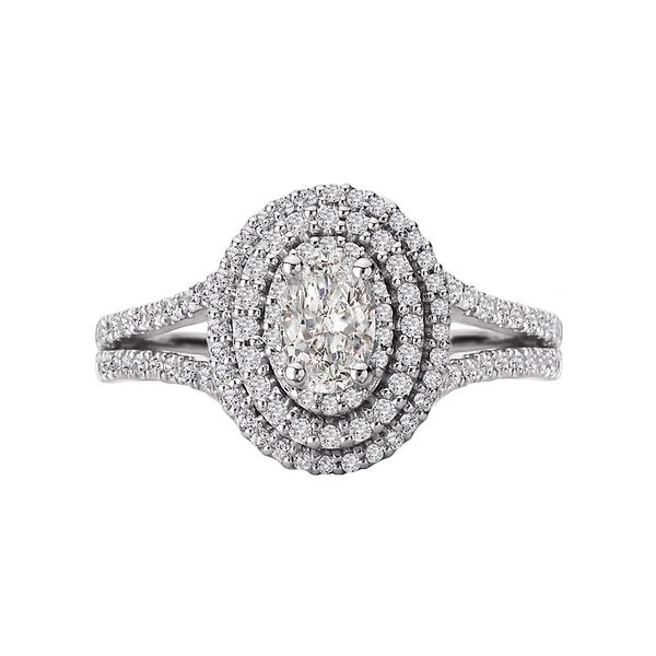 Oval Double Halo Split Shank Engagement Ring Image 2 Carter's Jewelry, Inc. Petal, MS