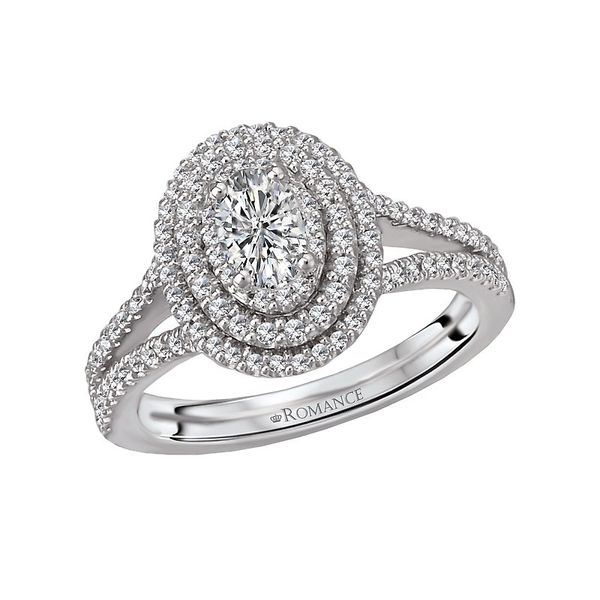 Oval Double Halo Split Shank Engagement Ring Image 3 Carter's Jewelry, Inc. Petal, MS