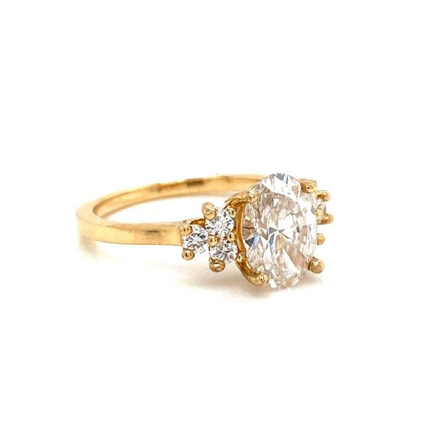 Lab Grown Oval w/ Trio Accent Stones Engagement Ring Image 2 Carter's Jewelry, Inc. Petal, MS