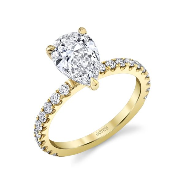 Petite Iris Pear Shaped Pave Diamond Engagement Ring Image 2 Carter's Jewelry, Inc. Petal, MS