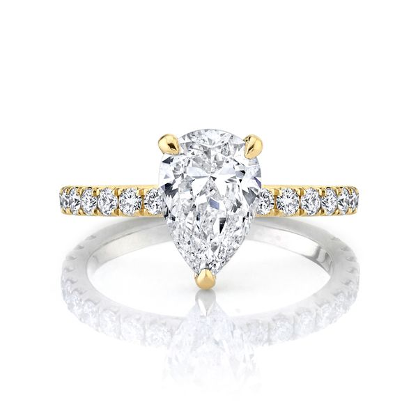 Petite Iris Pear Shaped Pave Diamond Engagement Ring Image 3 Carter's Jewelry, Inc. Petal, MS