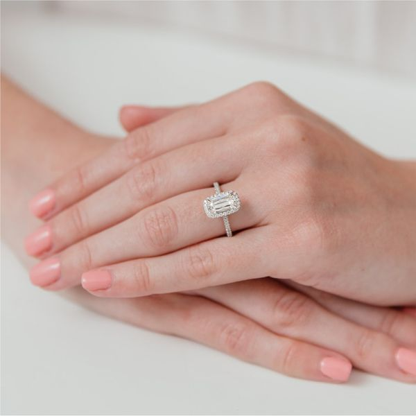 Antique Elongated Cushion Cut Halo Diamond Engagement Ring Image 2 Carter's Jewelry, Inc. Petal, MS