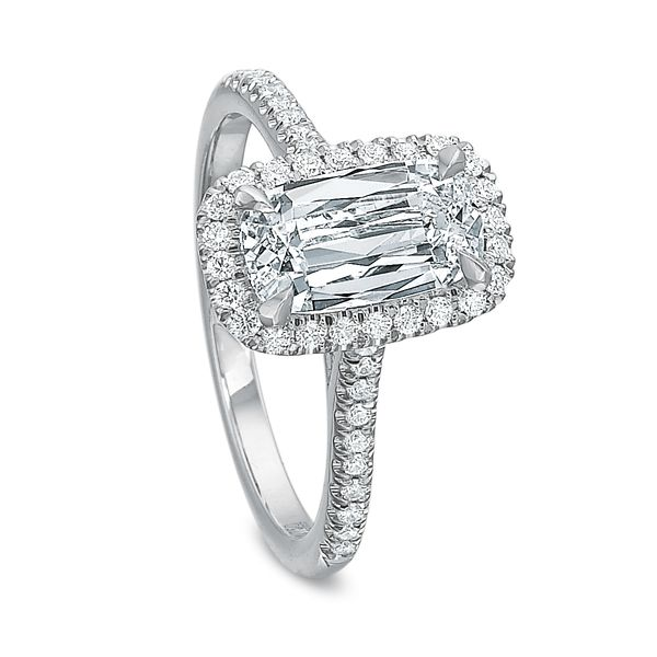 Antique Elongated Cushion Cut Halo Diamond Engagement Ring Image 4 Carter's Jewelry, Inc. Petal, MS