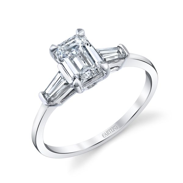 Violet Emerald Cut Three Stone Diamond Engagement Ring Image 3 Carter's Jewelry, Inc. Petal, MS