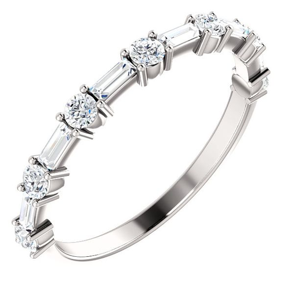 Alternating Baguette and Round Diamond Stackable/ Wedding Band Carter's Jewelry, Inc. Petal, MS